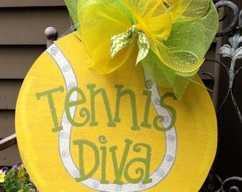 """Wooden """"Tennis Diva""""  Hand Painted Door Decoration"""