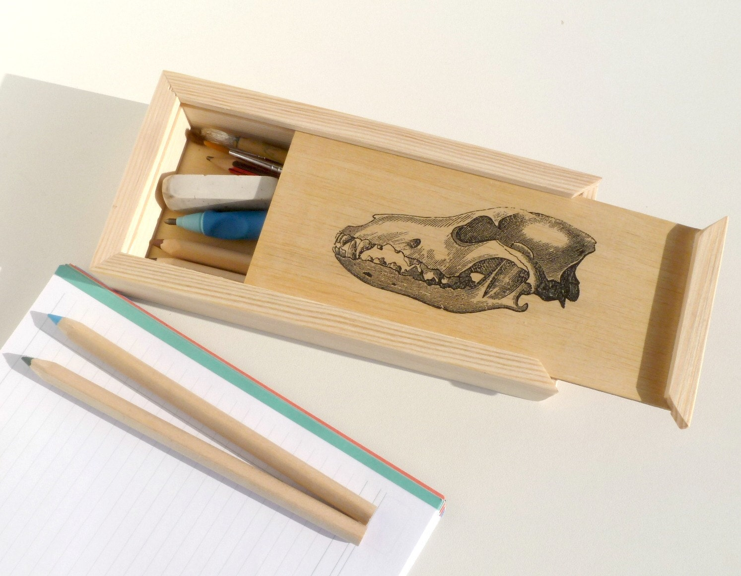 Wood Pencil Box Wood Pencil Holder School Supplies Back To