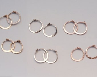 "Small Gold Hoop Earrings 1/2"" One Pair Solid 14k Sleepers 13mm, Secure Clasp, Real Gold 14k Rose or Yellow Gold, 18k Palladium White Gold"