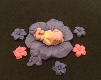 Fondant baby pink lavender flower cake topper