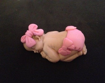 Fondant edible baby girl cake topper