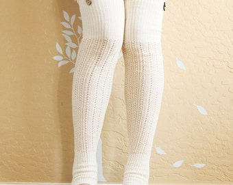 Beautiful cream lacy Leg warmers.Ivory boots socks with cute lace,cute Christmas gift for her. long Leg warmers for high boots