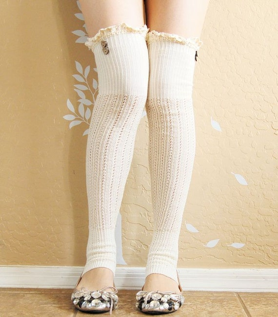 On SaleBeautiful Cream Lacy Leg Warmers.Ivory Boots Socks