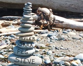 Personalized print - rocks on the beach - housewarming gift, wedding gift - customized photography with family or couples' names