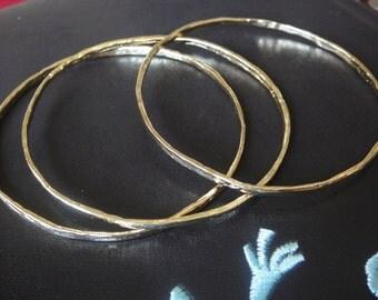 1 pc. Vermeil, 18k gold over 925 sterling silver hammered bangle, vermeil bangle bracelet, shiny gold