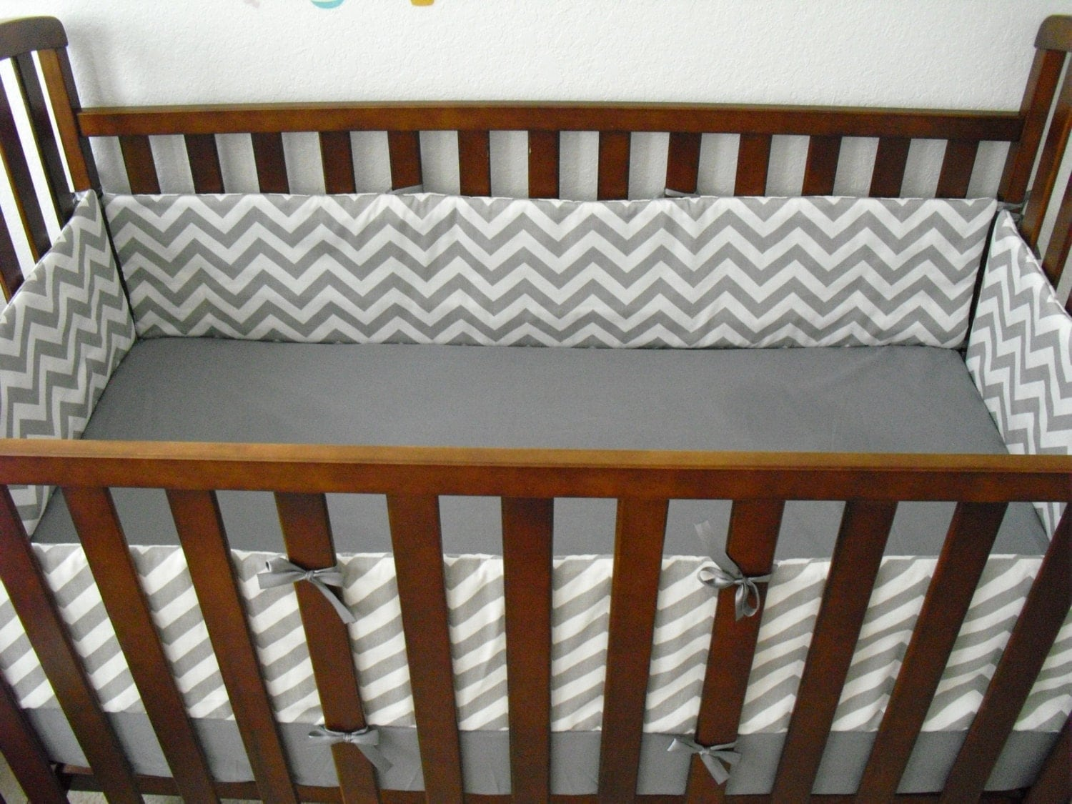 Crib Bumper grey white chevron by PrettyThingsbyOC on Etsy