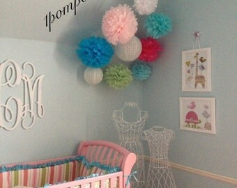 NURSERY LULLABY / 7 Tissue Paper Pom Poms/2 Paper Lanterns / nursery decor, baby shower, bridal shower, wedding decorations, birthday decor