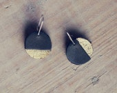 Earrings black and gold - MOON - AMEjewels
