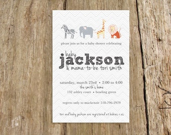 Zoo animals modern baby shower invitation boy or girl - customize with your colors and baby name - digital file