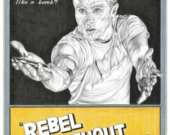 Pencil drawn alternative Rebel Without A Cause poster
