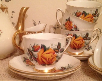 Vintage 1950's Colclough Yellow Rose Teacup and Saucer. TS033