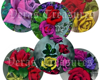 Vintage Style Roses 55cm Round Digital Images for mirror centres or badge centres.