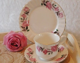 Vintage Lindrick Pottery Pink rose Teacup, Saucer and Side Plate, great wedding tea set