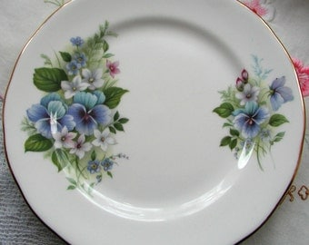 Vintage Royal Vale Tea Plates with blue flowers. 1950s. set of two.