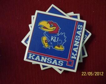 KU Jayhawk coasters - set of 4