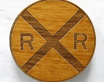 Railroad Crossing Sign Wooden Fridge Magnet - Small