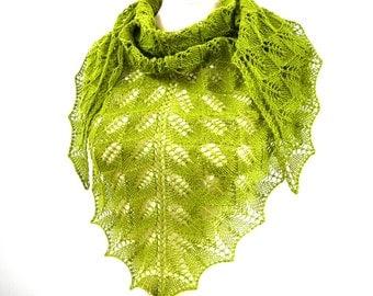 Shawl, Knitted green shawl, Triangle wrap