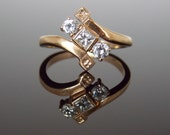 RESERVED - Down Payment - Victorian Bypass Diamond Cocktail Ring with Princess Cut Diamond Antique Vintage Unique Engagement Ring RGDI38
