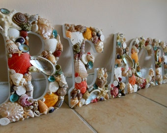Beach Decor Seashell Letters - Seashell Beach Sign - Wooden Beach Sign - Beach Sign - Beach Decor, Coastal Home decor