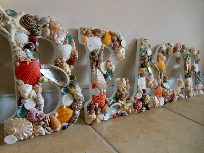 Beach Decor Seashell Letters Seashell Beach Sign Wooden