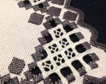 Cute little Hardanger embroidered linen tablecloth. Scandinavian handcraft.