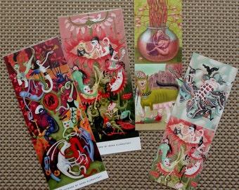 Bookmark.Valentine's. Birthday. Set of 4. Lowbrow pop surrealism by Nona Klimautsky.