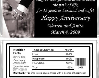 Personalized Candy Bar Wrappers - Anniversary - Holding Hands AN011 (Set of 15)