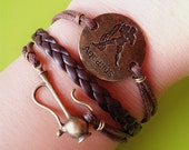 Constellation Bracelet / Aquarius bracelet / Brown Leather Bracelet