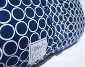 Baby Padded Play Mat - Robert Kaufman navy blue with white circles, plush ivory minky
