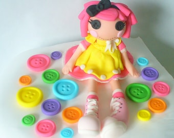 3D LALA LOOPSY Inspired Edible Fondant Cake Topper Crumbs Sugar Cookie with Buttons