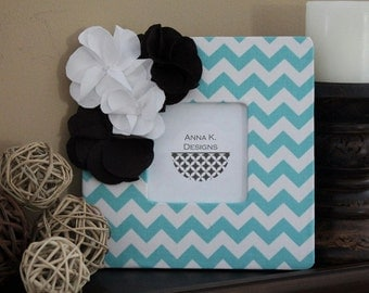Aqua Chevron Frame with Chocolate Brown and White Fabric Flowers