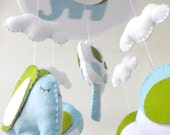 "Baby Crib Mobile - Baby Mobile - Nursery Crib Mobile - Green and Blue Elephant Mobile ""Sleeping Elephant"""