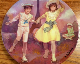 Patinage au Trocadero / Skating at the Trocadero - 1985 Collectible French Limoges Plate
