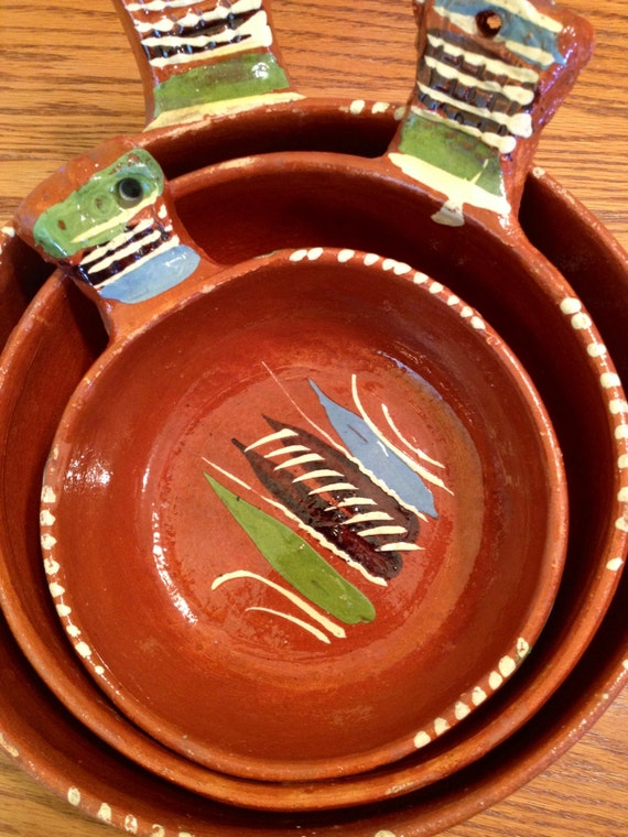 Vintage Mexican Pottery Set Of Terra Cotta By