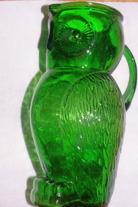 Vintage Green Glass Owl Pitcher By Jtgoodies On Etsy