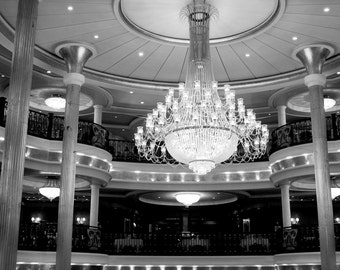 Travel Photography - Rhapsody Chandelier, 8x12 Fine Art Print - Romantic, Ship, Crystal, Architecture Photography, Black and White Photo