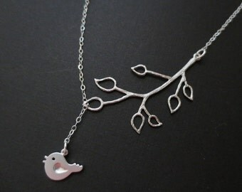 Cute Bird and Branch Lariat Necklace in STERLING SILVER CHAIN--Adorable Necklace-Perfect Gift for mom for friends Birthday Present for her