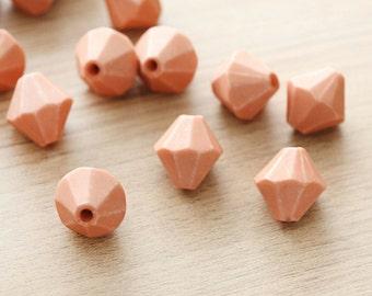 10pcs of BurlyWood Dyed Bicone Acrylic Beads - 20 mm
