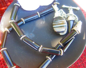 Onyx and Bronzite Necklace