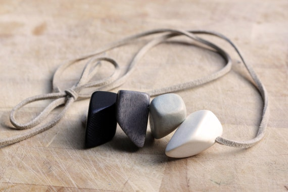 Necklace with Ombre wooden nuggets in black white and grey