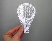 Hot Air Balloon Paper-cut Scherenschnitte in White - catfriendo