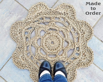Wild Flower Door Mat - Rope Mat - Front Door Decor - Made To Order