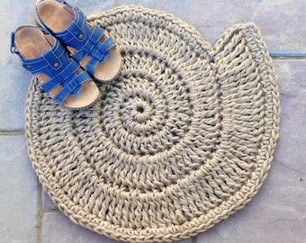 Button Shell Door mat - Beach House Front Door Decor - Natural Rope - Handmade To Order