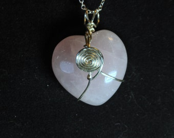 "Rose Quartz 30mm Heart Pendant with 20"" Silver-Plated Curb Chain"