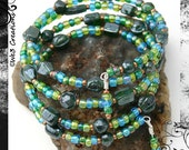 Green and Blue Glass Beads Memory Wire Bracelet