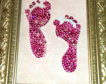 Swarovski Crystalized babys' 1st Footprints