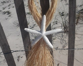 White Finger Starfish and Raffia Wedding Chair Hanger Aisle Decorations, Beach Wedding Decorations, Aisle Hangers, Choose Your Colors