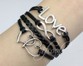 Love bracelet, infinity bracelet, heart to heart bracelet, leather rope bracelet bangle weave with extension chain,best gift for friends