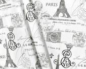 Drapery Fabric, ParisFabric, Light Upholstery Fabric, EiffelTower Fabric, Charcoal/Grey Black FrenchScript Fabric, Document, Fabric The Yard