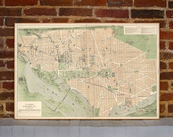 1892 Washington DC Vintage Map Canvas Print